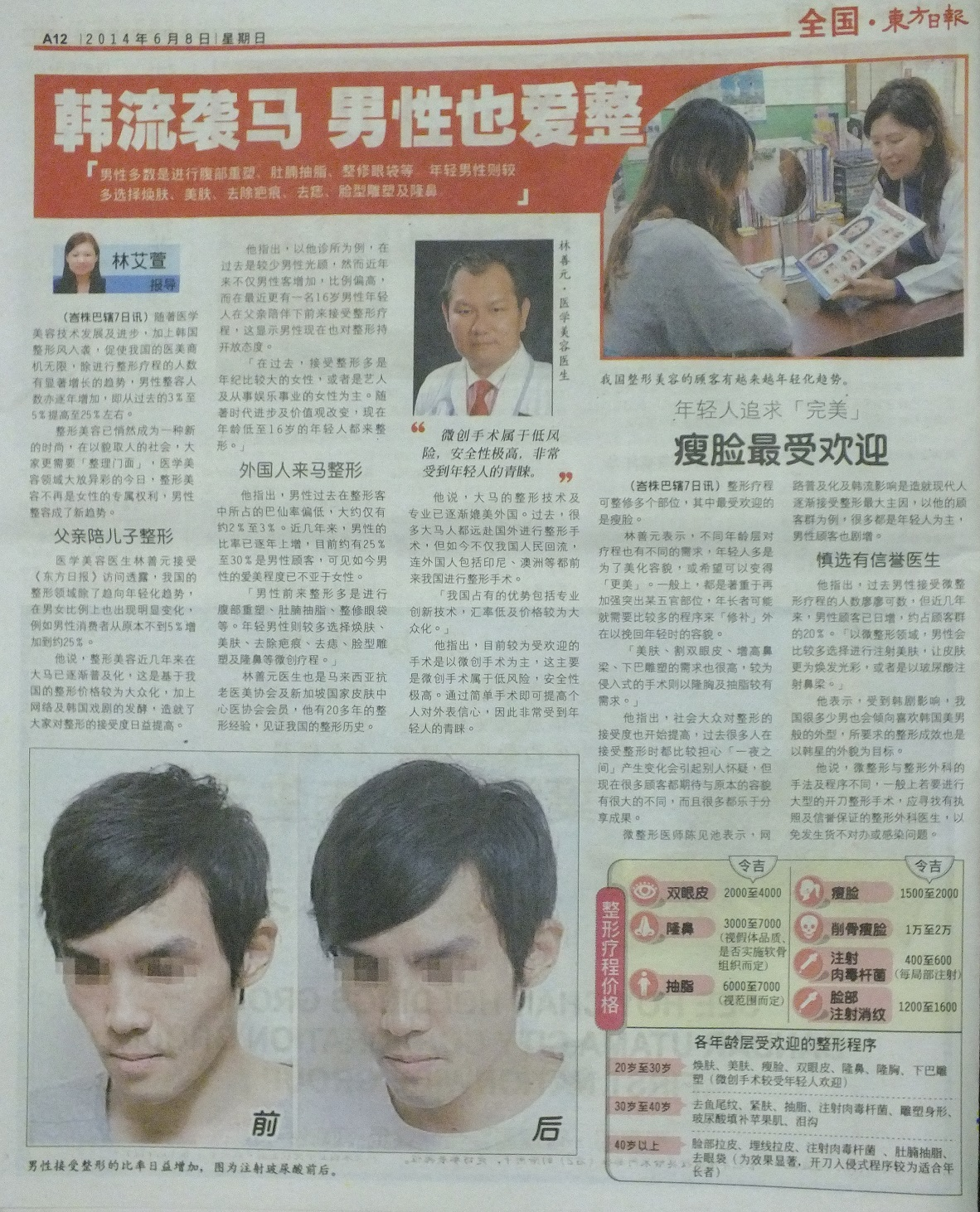 Dr David Ling interviewed by media China Post on cosmetic surgery for the male customers.